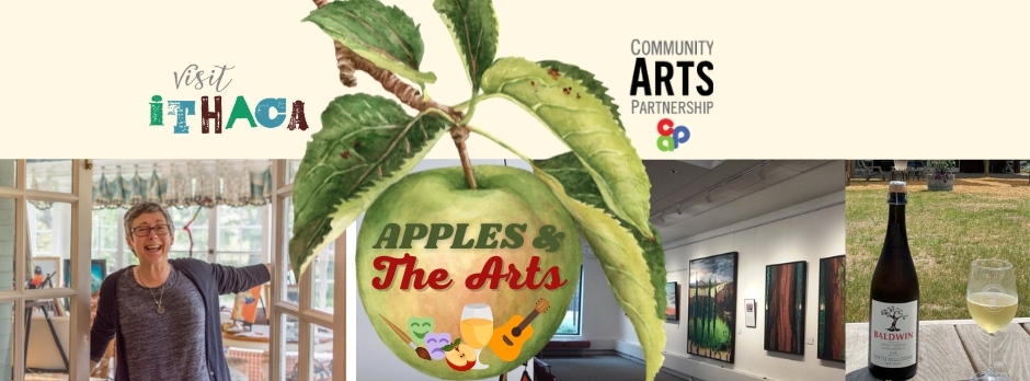 apples and the arts banner in Ithaca