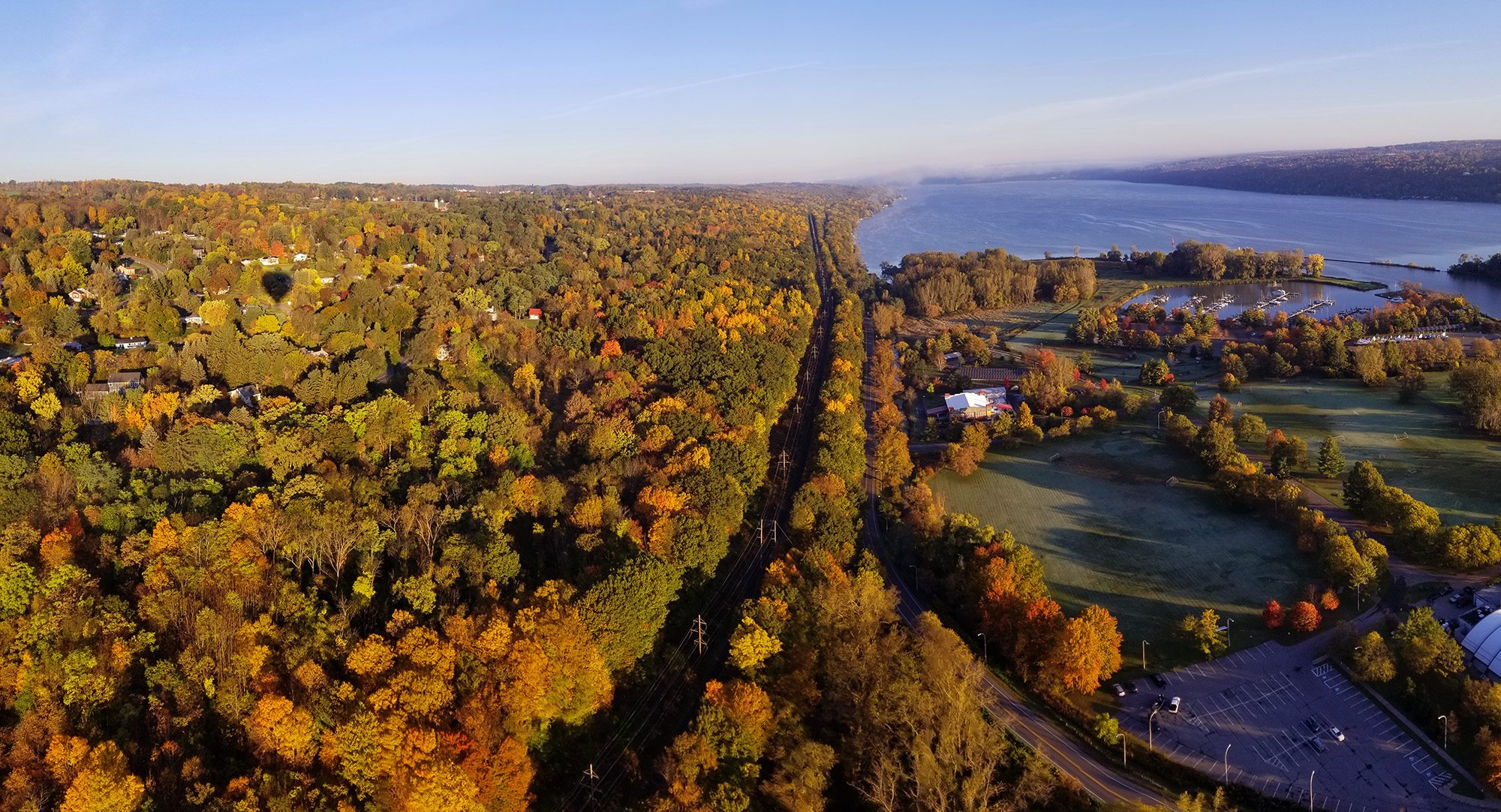 aerial view of fall trees  west side of Cayuga Lake