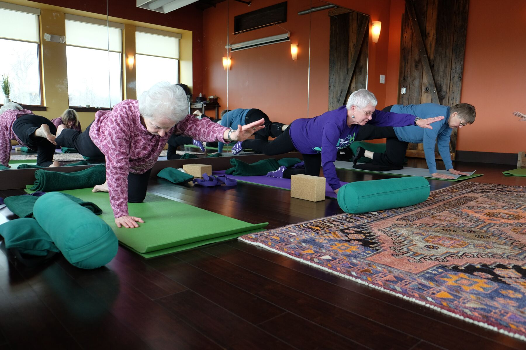 Older women at yoga class