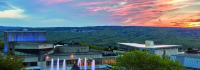 Ithaca College with pretty sunset sky