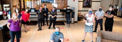 Marriott lobby and staff wearing face masks