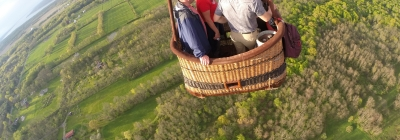 People in hot air balloon overlooking Cayuga Lake