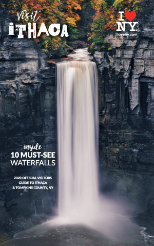 Visit Ithaca 2020 Travel Guide cover with waterfall image