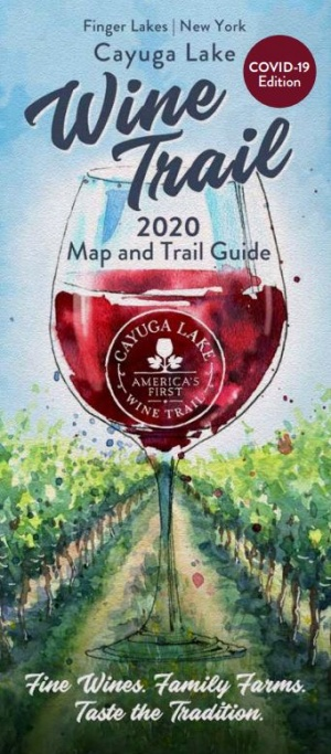 Cayuga Lake wine trail guide cover 2020 with red wine glass revised for covid-19